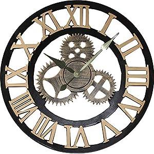 Jcw 19.7″(50CM) Redondo Reloj de Pared,Antiguo Hecho a Mano de Madera Vintage 3D Diseño de Gear (Golden)