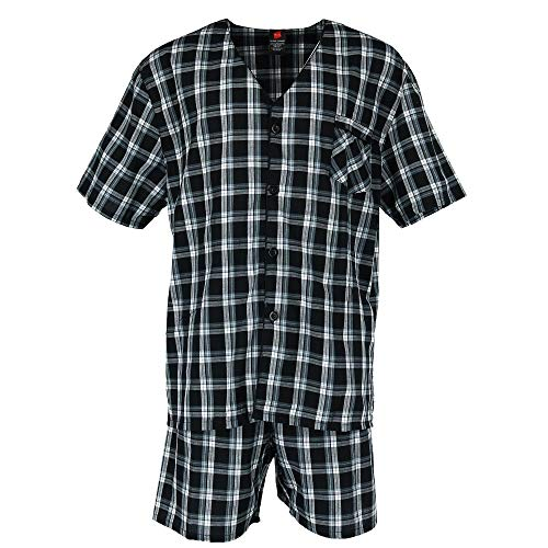 Hanes Big and Tall Short Sleeve Short Leg Pajama Set, 5X, Black