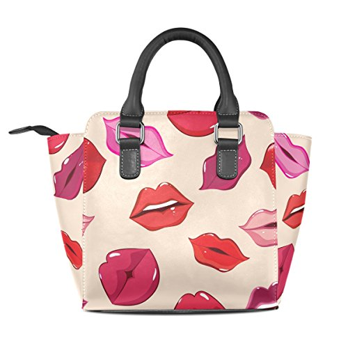Bags TIZORAX Handle PU Lips Handbags Women's Shoulder Leather Print Of Top wqCw6v