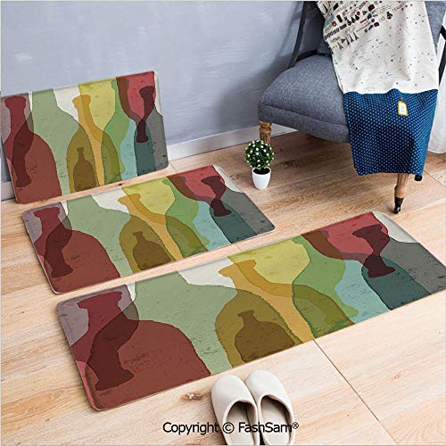 3 Piece Flannel Bath Carpet Non Slip Abstract Composition with Watercolor Silhouettes Bottles of Wine Whiskey Tequila Vodka Decorative Front Door Mats Rugs for Home(W15.7xL23.6 by W19.6xL31.5 by W19.6