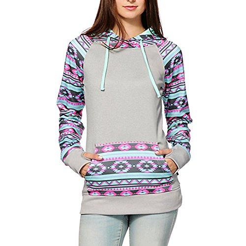 Begonia.K Women's Long Sleeve Geometric Floral Print Pullover Hoodie Sweatshirt, #5_Grey, US L=Tag (Tribal Hood Number)