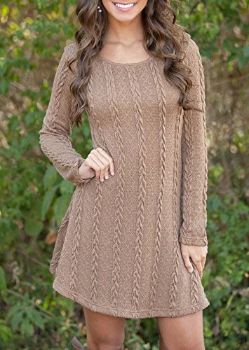 MOUYS Women Causal Long Sleeve Loose Knitted Sweaters Dresses at Amazon Womens Clothing store: