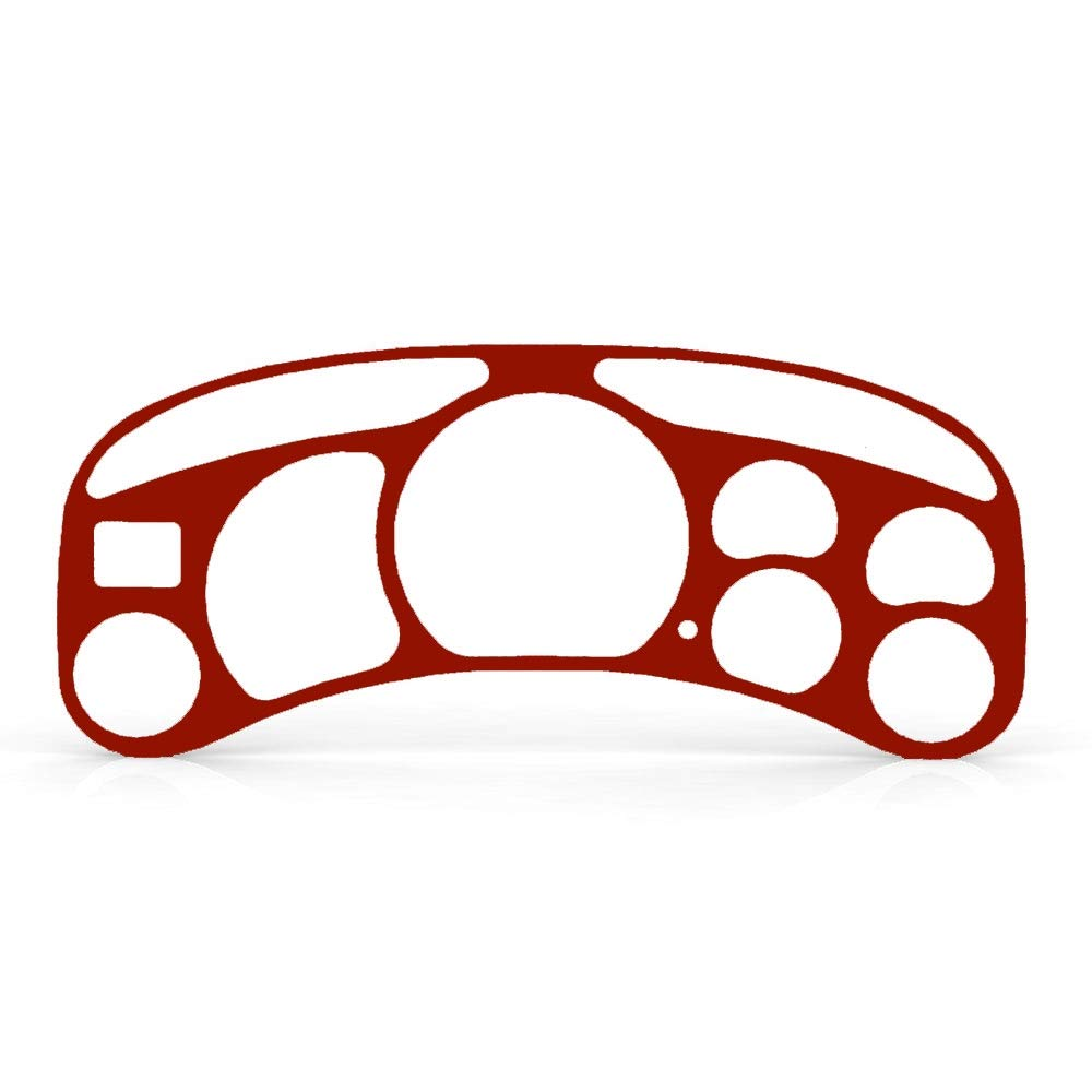 Colonial Red Satin Gauge Cluster Dash Bezel Trim fits: 1999-2002 GMC Sierra 2500 - Ferreus Industries - BZL-209-Colonial-Red-Satin-014-08