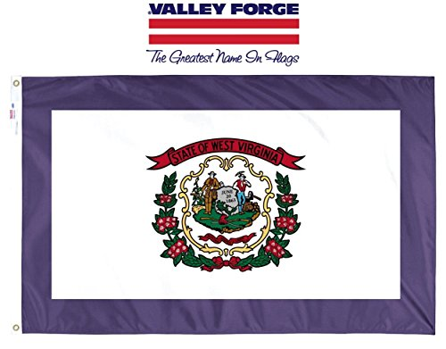 Valley Forge, West Virginia State Flag, Nylon, 3'x5', 100% Made in USA, Canvas Header, Heavy-Duty Brass Grommets