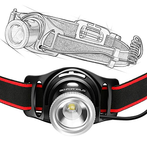 Zoomable Headlamp Flashlight, White Cree LED Head lamp with High Capacity 18650 Battery, Perfect for Running, Lightweight, Waterproof, Adjustable Headband, 4 Display Modes