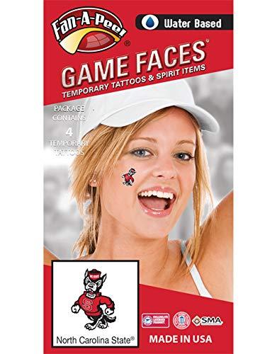 Fan A peel North Carolina State University (N.C. State) Wolfpack - Water Based Temporary Spirit Tattoos - 4-Piece - Mr Wuf Logo