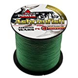 Ashconfish Braided Fishing Line-4 Strands Super Strong PE Fishing Wire 500M/546Yards Multifilament Fishing String Ultra Power Heavy Tensile for Saltwater & Freshwater Fishing 15LB-Moss Green