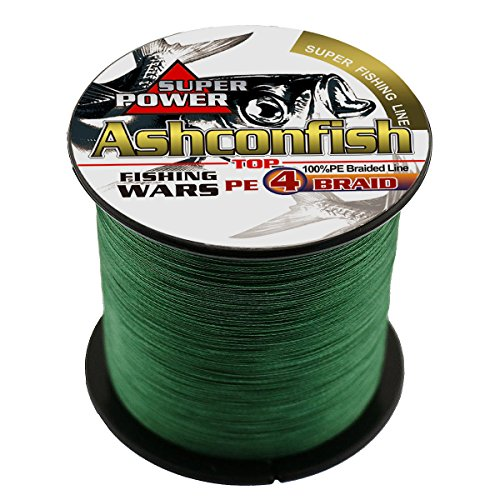 Ashconfish Braided Fishing Line-4 Strands Super Strong PE Fishing Wire 500M/546Yards Multifilament Fishing String Ultra Power Heavy Tensile for Saltwater & Freshwater Fishing 40LB-Moss Green (Best Braided Ice Fishing Line)