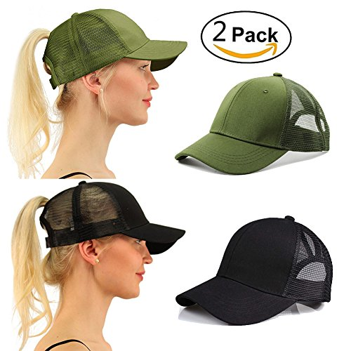 Lobeve 2 Pack of Ponytail Baseball Cap Hat Adjustable Mesh Trucker Ponytail Messy High Bun Dad Hat-Army Green
