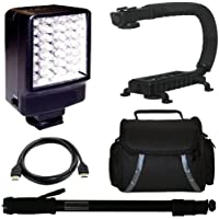 Deluxe Video Bracket + LED Video Light + Light weight Monopod + Camcorder Carrying Case + HDMI Cable for Panasonic SDR-H18 SDR-H80 SDR-H85 SDR-H100 SDR-H100K SDR-H101 SDR-H200 Standard Definition Camcorder