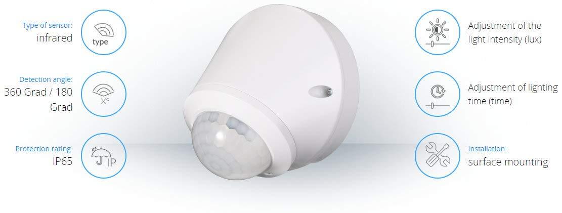 Aufputz infrarrojos Detector de movimiento 360 °, IP65, 230 V - con sensor de oscuridad - para exterior y zonas húmedas - LED Adecuado a partir de 1 W: ...