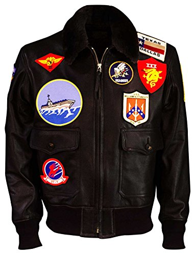 Tom Cruise Top Gun Maverick Fur Collar Patches Shearling Aviator Pilot Bomber Real Leather Jacket ()