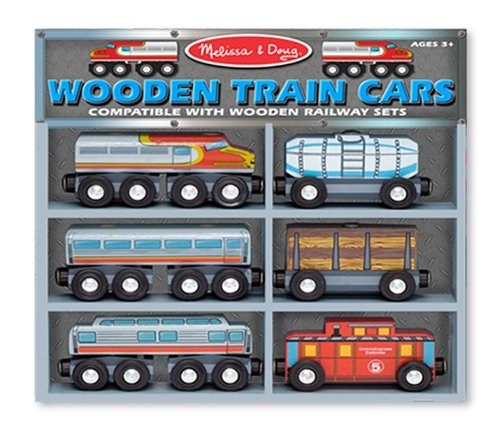 Melissa & Doug Wooden Train Cars Set