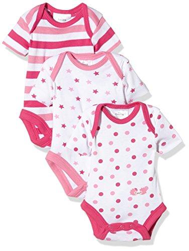 Twins Baby - Mädchen kurzarm Body im 3er Pack, Mehrfarbig (Weiss/Pink 810013), 50