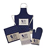 HOME FIBER's 5 pc Embroidered Kitchen Set Collection for Men's BBQ- 1 Apron, 1 Oven Mitt (Gel Print ), 1 Pot Holder(Gel Print ), 1 Terry Towel & 1 Printed Towel