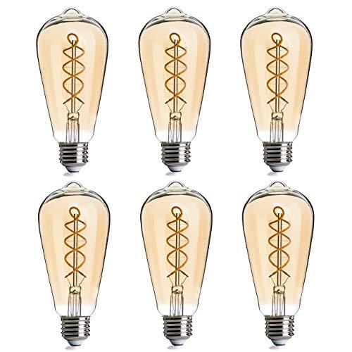FLSNT LED Vintage Edison Light Bulbs 40 Watts Equivalent,ST21/ST64 Dimmable 4.5W LED Flexible Spiral Filament Decorative Light Bulbs,2200K Warm White,300LM,E26 Base,Amber Glass,6 -