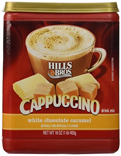 Hills Bros, White Chocolate Caramel Cappuccino, 16oz Container (Pack of 3) - Instant Caramel