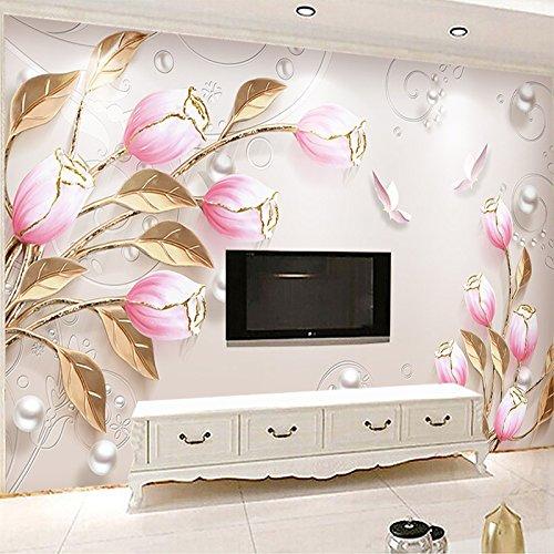 - Custom Photo Wall Paper Printing Fashion Tulip Flower Living Room Sofa TV Background Modern 3D Embossed Mural Fresco Wallpaper cchpfcc-280X200CM