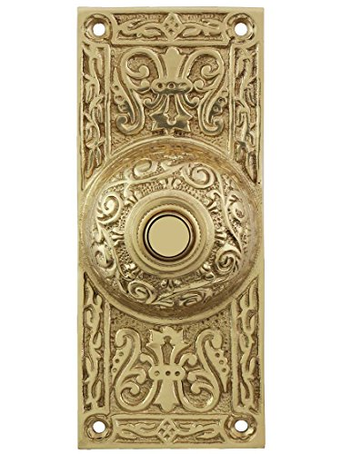 House of Antique Hardware R-010MG-314-PB Large Victorian Solid-Brass Doorbell Button in Polished Brass
