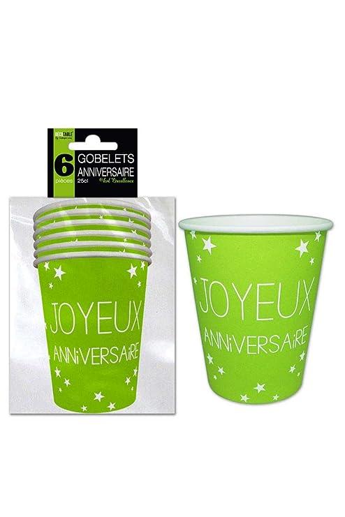 Juego de 6 vasos de cumpleaños, color verde: Amazon.es: Hogar