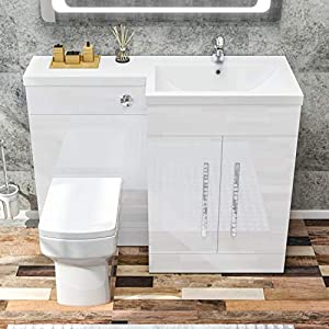 ELEGANT 1100mm L Shape Bathroom Vanity Sink Unit Furniture Storage,Right Hand High Gloss White Vanity unit + Basin + Ceramic Square Toilet with Concealed Cistern