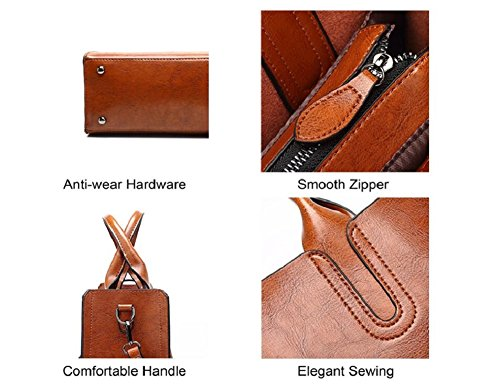 Satchel Top Handle Ladies Shoulder Oil with Leather Shoulder Elegant Vintage Brown Fashion Bag Handbags Wax Girls Handbag Bag Hzw0q
