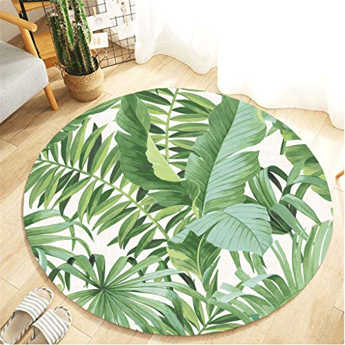 Tropical Palm Tree Area Rug Round Hawaiian Summer Fluffy Carpets Runners Green Foliage Pineapple Fruit Watercolor for Living Room Bedroom Kitchen Floor Fur Mat