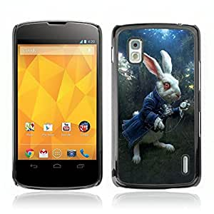 """CASETOPIA / """"White Rabbit / LG Google Nexus 4 E960 / Prima Delgada SLIM Casa Carcasa Funda Case Bandera Cover Armor Shell PC / Aliminium"""
