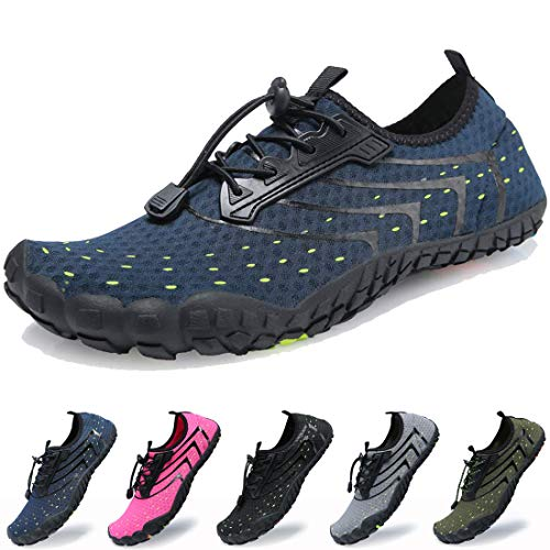 Dimerry Men Women Water Sport Shoes Quick-Dry Barefoot Solid Drainage Sole for Swim Diving Surf Beach Aqua Pool,13 US Women/11.5-12 US Men,Deep Blue (Best Shoes For Walking In Water)