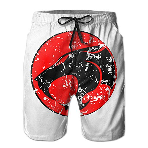 Kurabam Beach Volleyball Shorts Thundercats Logo Athletic Gym Shorts for Men Boys, Outdoor Short Pants Beach Accessories White