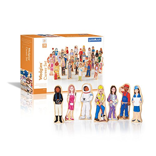 Guidecraft Wedgies Career Set of 30 Figures - Little Professionals Wooden Character Set, Kids Learning & Educational Toys ()