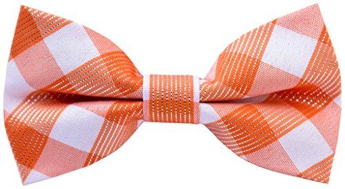 Carahere Handmade Boy's Plaid Bow Ties 6R Orange&white