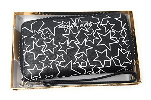 Michael Kors Giftables Jet Set MF Zip Phone Case Wristlet (Black/White Stars)