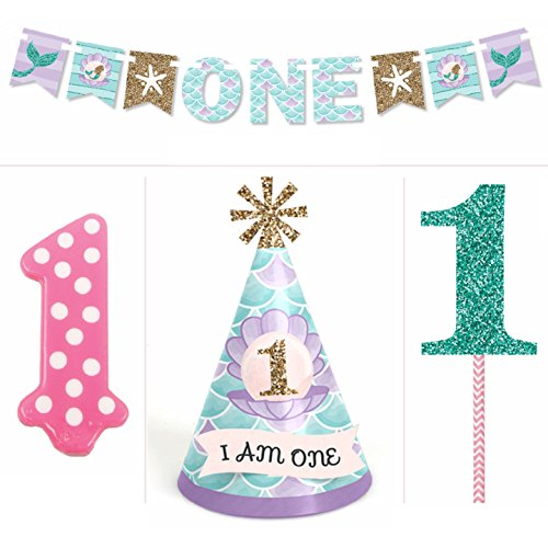 Let's Be Mermaids - 1st Birthday Girl Smash Cake Kit - High Chair Decorations