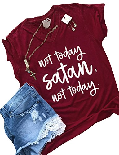 ZXH Women Summer Round Neck not Today Satan not Today Letter Print T-Shirt Short Sleeve Top,Red,Large