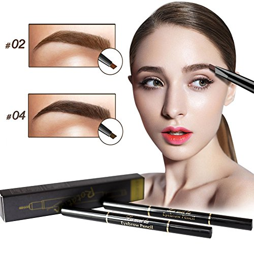 2Pcs Double Headed Eyebrow Pencil with Brow Brush Automatic Makeup Cosmetic Tool Waterproof and Long Lasting (Fruitcake Traditional)