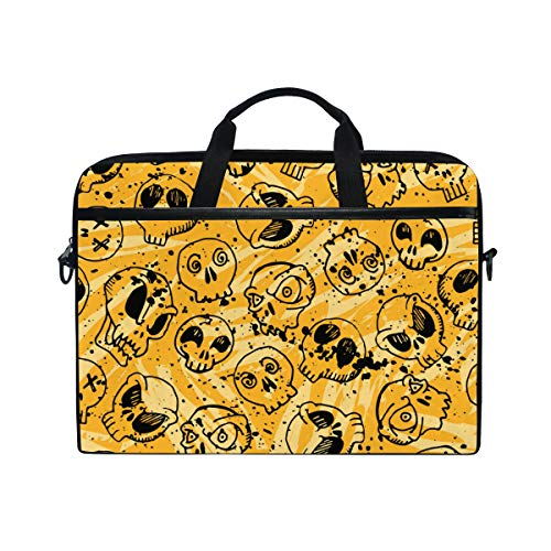TARTINY 15-15.4 Inch Laptop Bag Seamless Skull Pattern Halloween Holidays Wallpaper Shoulder Messenger Bags Sleeve Case Tablet Briefcase with Handle Strap