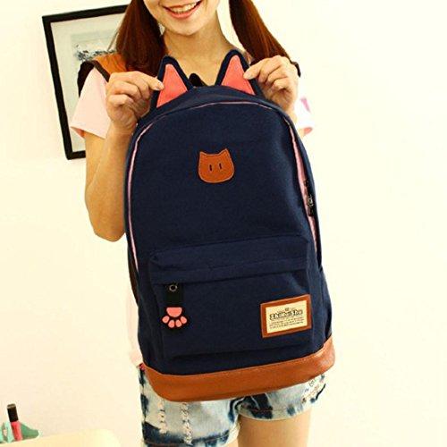 Tongshi hombres mujeres jóvenes Campus Girls viaje Mochila los bolsos de escuela Bolsas de deporte (Negro) Azul oscuro