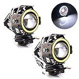 Motorcycle LED Headlight U7 Fog Light Spot light Driving Daytime Lights Running Light Angel Eyes Light Ring ((2 Pack) White Angel Eyes