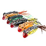 RUNCL Topwater Frog Lures with Single Skirts, Soft Fishing Bait Tackle with Tackle Box for Bass Pike Snakehead Dogfish Musky (Pack of 5)