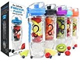 Live Infinitely 32 oz. Infuser Water Bottles - Featuring First Ever Gel Freezer Ball Infusion Rod, Flip Top Lid, Larger Dual Hand Grips & Recipe Ebook Gift (Blue Polar Edition, 32 Ounce)
