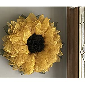 Yellow Sunflower Poly Burlap Mesh Front Door Spring Summer Welcome Country Wreath 2