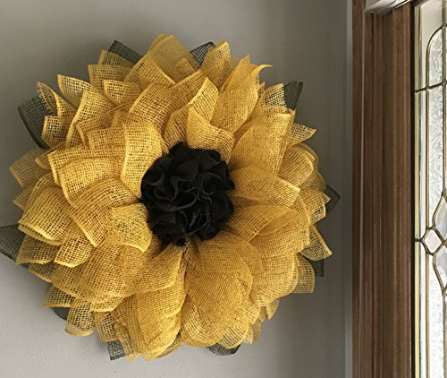 Yellow-Sunflower-Poly-Burlap-Mesh-Front-Door-Spring-Summer-Welcome-Country-Wreath