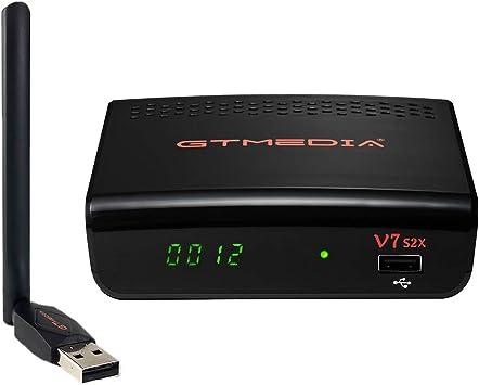 GT Media V7S2X Decodificador,Satélite Receptor de TV Full 1080P HD con Antena WiFi USB,Soporte DVB-S/S2/S2XAVS+VCM/ACM/Multi-stream/T2MI Soporte CCcam ...