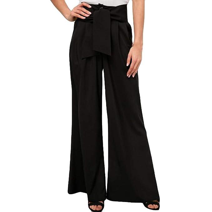LISTHA Broad Leg Pants Women Bow Tie Waist Loose Maxi ...