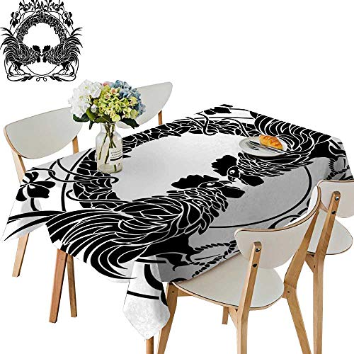 UHOO2018 Polyester Fabric Tablecloth Square/Rectangle Two Cocks Fighting Cockerel Arch Symmetry for Picnic,Outdoor or Indoor,54 ()