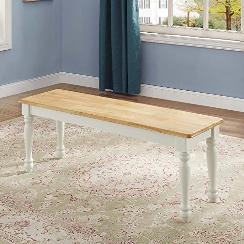 NEW Autumn Lane Farmhouse Bench, White and Natural by Better Homes & Gardens