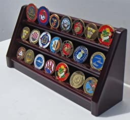 3 Rows Challenge Coin / Casino Chip Display Stand Rack Holder Stand, Mahogany Finish Coin18-MA