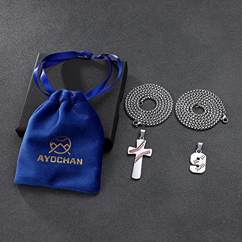 Ayochan Baseball Necklaces Number Cross Pendant Set for Boys Men I Can Do All Things Silver Plated Chains Charm Red Youth Necklace Mens Boy Stuff Stainless Steel Long Chain Layered Jewelry