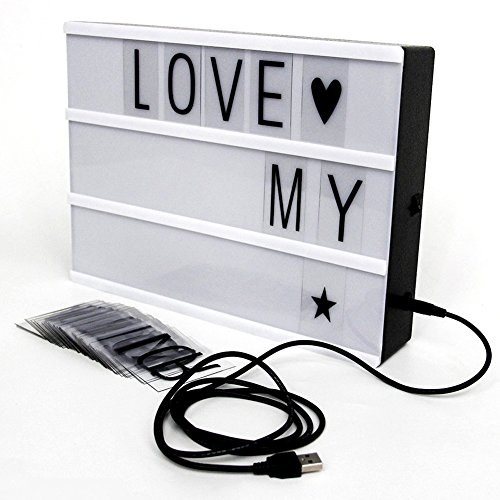 LED Cinematic Lightbox A4 Size 90 Letters Interchangeable DIY Light Box Decorative Signs Family Educational Appliances Includes USB